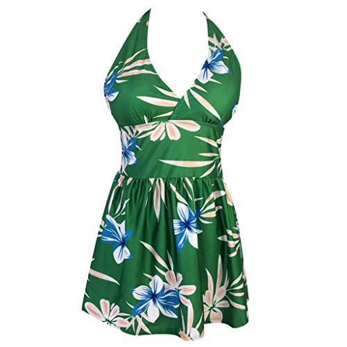 MRENVWS Frauen Plus Size Vintage Print Tankini Bikini Bademode Schwimmen Push-Up Badeanzug -