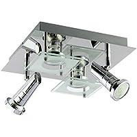 Trango Plafonnier LED Carr 4 Ampoules Design Pour Salle De Bain