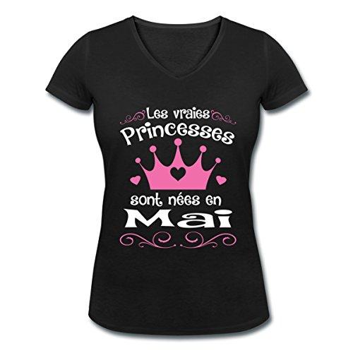 Anniversaire-Princesses-Sont-Nes-En-Mai-T-shirt-col-V-Femme-de-Spreadshirt