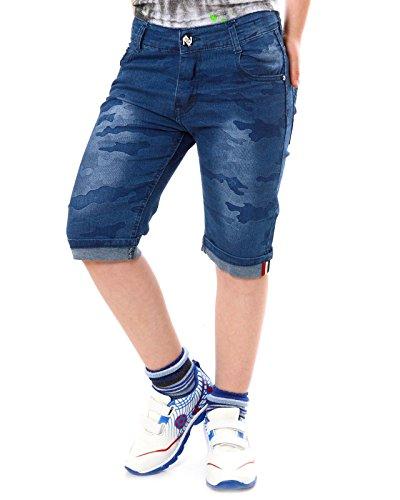 Deutsche Hose Camouflage (Jungen Jeans Shorts Hose mit verstellbaren Bund 22040, Farbe:Blau, Größe:104)