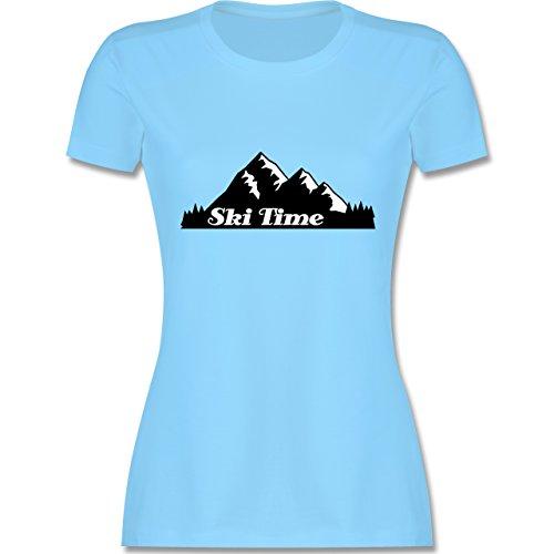 Wintersport - Ski Time - tailliertes Premium T-Shirt mit Rundhalsausschnitt für Damen Hellblau