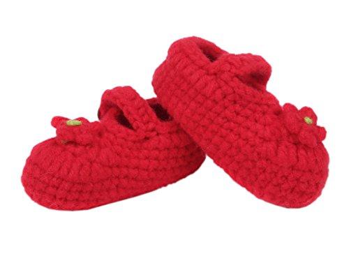Bigood Chausson Bébé Chaussures au Crochet Souple Fleur Bouton Hiver Rouge