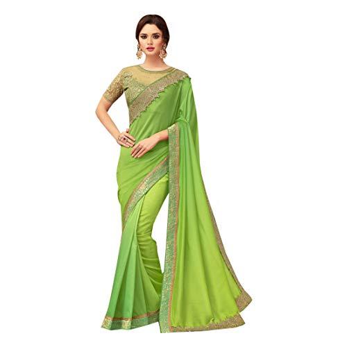 Parrot Green Georgette Party Saree Bluse Stilvolle Frauen Mode Indian Sari American 8142 -