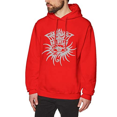 James Home Herren BobDylan-Eye Logo Pullover Hoodie Langarm Sweatshirt Hoodies für Herren Jungen Kleidung Outdoor Mantel Tops Rot 3XL -