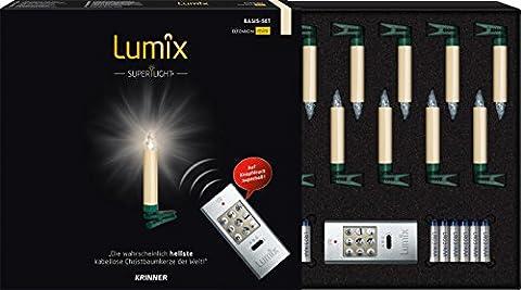 KRINNER Lumix 75522 SuperLight kabellose Mini Christbaumkerzen Basis-Set (In und Outdoor), 0.01 W, elfenbein, 1.5 x 1.5 x 9 cm