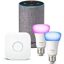 Amazon Echo (2.ª generación), tela de color gris oscuro + Philips Hue White and Color Ambiance - Kit de 2 bombillas LED E27 y puente