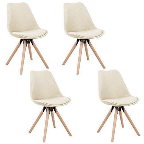 MCTECH® 4er Set Esszimmerstühle Besucher-Stuhl Esszimmerstuhl Wohnzimmerstuhl Stuhlgruppe Konferenzstühle Bürostuhl Küchenstuhl Büro Sofas (Beige)