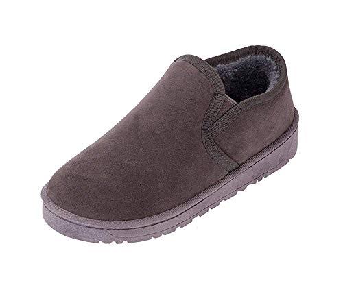 DEED Damen 'Schneestiefel Retro Big Code Short Zylinder Verdickung Flach unten warme tägliche Schuhe für Studenten,36 EU,Grau - Unten Big Zylinder