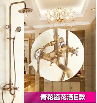 Ottone antico bagno soffione doccia con soffione doccia spray durevole ottone rubinetto set Light Yellow