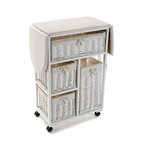 Versa 21160004 Mueble con Cestas Blanco Plancha