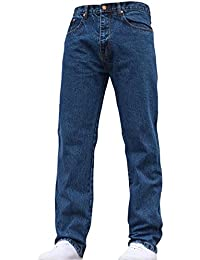 Mens Straight Leg Heavy Duty Work Basic 5 Pocket Plain Denim Jeans Pants All Waist & Sizes