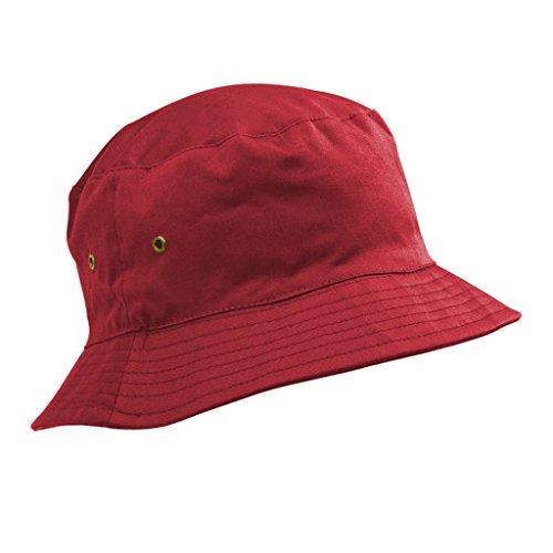 100% Baumwolle Fischerhut/Sonnenhut für Kinder–5-11 Jahre, für Jungen & Mädchen, rot