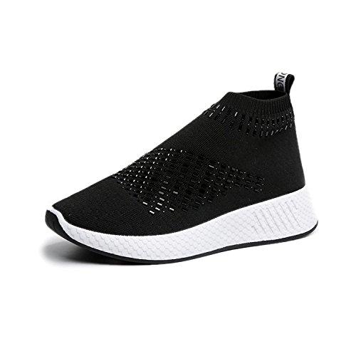 Donyyyy Die rutschfeste Frauen Schuhe, Freizeitschuhe und Frauen atmungsaktiv rutschfeste Schuhe, schwarz, 35