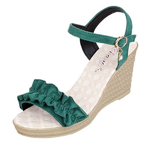 Damen Sandalen,Beikoard Frauen Absatzsandalen Schnallen Keilsandalen Rüschen Peep Toe Schuhe Damen Sandalen aus Fischmaul 8.5cm - Paris Slingback