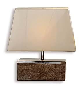 lampe tischlampe tischleuchte aus holz und metall 40cm hoch design holzlampe leuchte licht. Black Bedroom Furniture Sets. Home Design Ideas