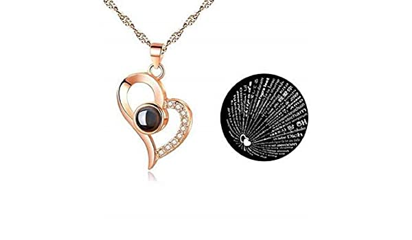 Buy Np I Love You In 100 Different Language Pendant Chain For Women Big Heart Rose Gold Online At Low Prices In India Amazon Jewellery Store Amazon In