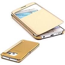 URCOVER® Samsung Galaxy S6 Edge | Carcasa Protectora | Plastico + TPU en Champaña Oro | Funda con Ventana Flip Case Wallet Cover Estuche Smartphone