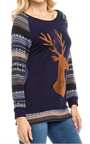 Tayaho T-shirt Manche Longue Femme Tunique Imprimé Rennes Sweat-Shirt Christmas Casual T-shirt Patchwork Basique Hauts Vintage Cute Blouse University ElÉGant blue