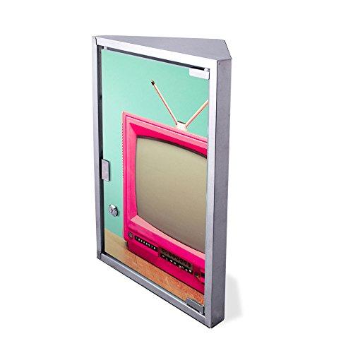 Edelstahl Medizinschrank Eckschrank abschließbar 30x17,5x45cm Badschrank Hausapotheke Arzneischrank Bad Pink TV