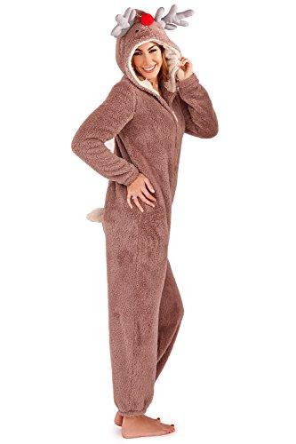 Loungeable pigiama intero di natale in morbido pile, da donna adults - reindeer medium