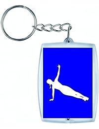 """'Porte-clés """"exercice de fitness de Femelle de Fille de Santé de humaine de Personnes de personne de pose de silhouette de dilatation de Femme en noir/blanc/bleu/rose/jaune/rouge/vert   Caddie–Sac Remorque–Sac à dos–Porte-clés, bleu"""
