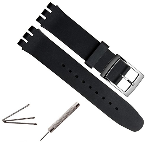 greenolive-17mm-replacement-waterproof-silicone-rubber-watch-strap-watch-band-black