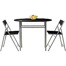Mesa y sillas Set fanilife plegable Set de 3pcs marco de metal cocina plegable mesa de comedor y sillas jardín Camping Picnic negro