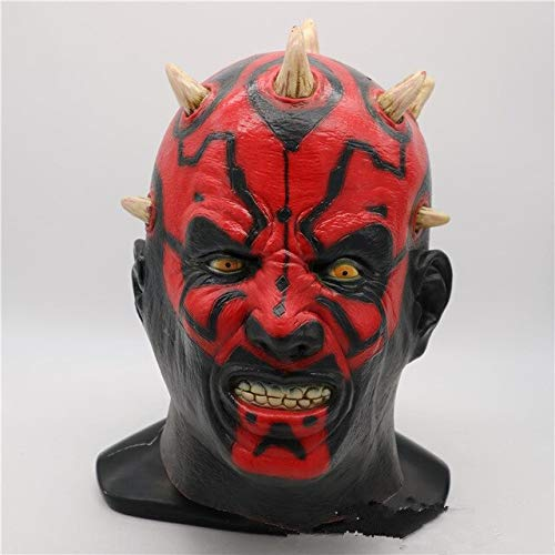 Latex Star Wars Film Darth Maul Maske Voller Kopf Scary Horror Halloween Kopf Maske Für Kostüm Cosplay Party Ball Kostüm, als das Bild