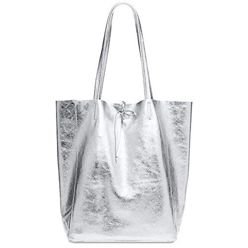 CASPAR TL781 Shopper Grande para Mujer/Bolso de Hombro A4 de Cuero Genuino Metalizado, Color:plata...