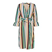 فستان مقلم متوسط الطول من اونلي وومن، باللون الابيض، مقاس 40 / لارج EU Lavender Fog 40 EU (Manufacturer Size:Large)