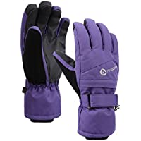 Women's Classic Zippered Pocket Touchscreen Ski Glove,Purple,M