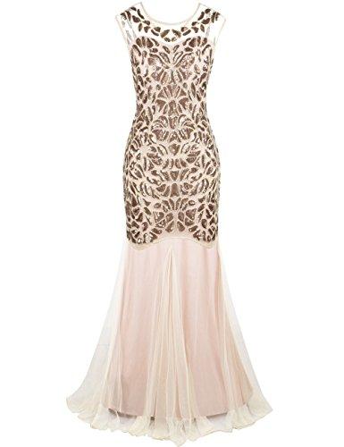 PrettyGuide Damen 1920s Schwarz Pailletten Gatsby Bodenlangen Abendkleid S meerjungfrau champagner