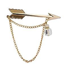 Gold Arrow With Hanging Tassel Lapel Pin/Brooch/Shirt Stud For Men