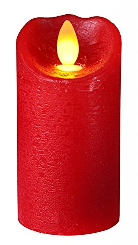 "Star 10 x 5,5 cm""brillo llama"" vela LED de cera, color rojo"