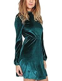 Frauen Samtkleid Cocktailkleid Kurz Elegant Langarm High-Neck Rückenfrei Stretch  Taille A-Linie Normallacks Irregular… caf034258d