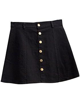 Faldas, Challeng Falda de la cintura de la moda de las mujeres falda de mezclilla de estilo coreano (m, negro)