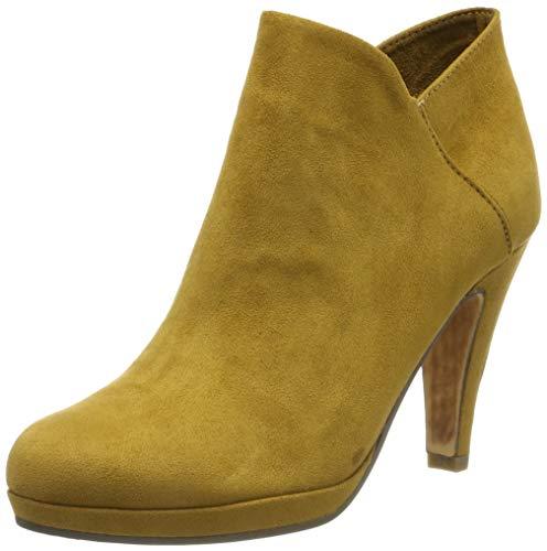 Botines amarillos para mujer de tacón fino