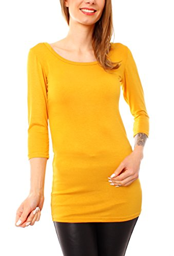 Easy Young Fashion donna Basic Shirt Long Maglietta a mezze maniche, collo rotondo tinta unita giallo mais