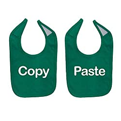 Mashed Clothing Unisex-Baby Copy & Paste Funny Twin Babies Cotton Baby Bib Set (2-Pack) (Kelly Green)