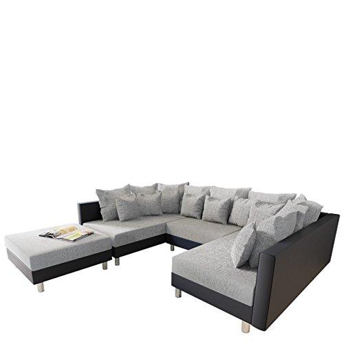Big Ecksofa Claudia, XXL Eckcouch mit Schlaffunktion und Polsterhocker, Design U-Form Couch, Modernes Big Ecksofa, Wohnlandschaft (Soft 011 + Lawa 05)