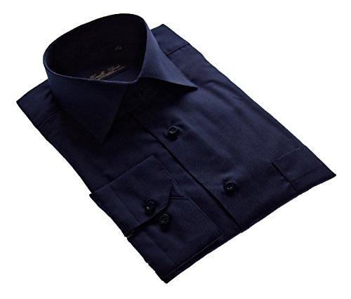 Camicia da uomo senza stiro, colletto classico, camicia da uomo, a maniche lunghe, colori assortiti Blu scuro