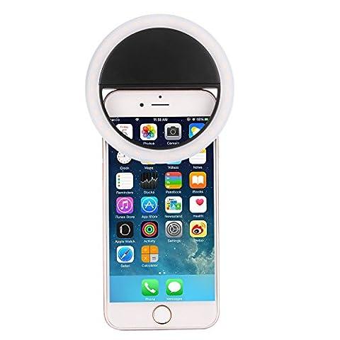 SAMTIAN Selfie Anneau Macro-clip Equipé de 36 LED Clip on facile à fixer ou à retirer Flash Lumineux ou Lampe Agrafe Selfie éclairage de nuit et de l'obscurité pour Amélioration de la photographie avec 3 Niveau Luminosité Super Brillant ajustable et compatible avec plupart des téléphones portable Smartphones et tablette iPhone/iPad/Huawei/Samsung/Xiaomi/Nokia 90- Noir