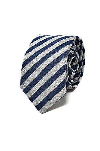 Oxford collection cravatta da uomo blu e grigio a righe - 100% seta - classica, elegante e moderna - (ideale per un regalo, un matrimonio, con un abito, in ufficio.)