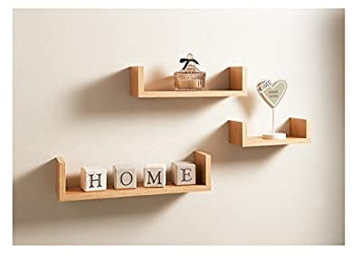 Floating Wall Set of 3 U Shaped Shelves Shelf Home Decoration Storage Oak Gift - cheap UK light store.