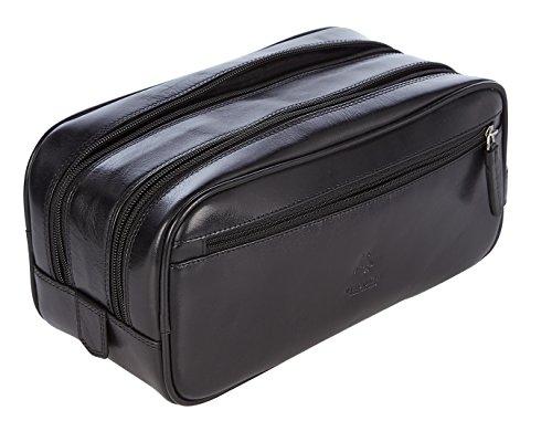 Visconti Leder Herren Reisenecessaire Kosmetiktasche Kulturbeutel Toilettenbeutel Waschbeutel Heritage Luxury Leather Travel Kit(HT100): (Vintage Schwarz (Vintage Black))