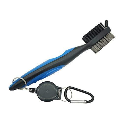 Desconocido Cepillo de golf club groove cepillo limpiador, ligero Tees de Golf con 2FT retráctil tirolina mosquetón de aluminio, mujer hombre Unisex, azul