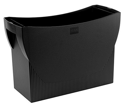 HAN Hängemappenbox SWING 1900-13 in Schwarz – Praktische Ordnungsbox für Mappen und Ordner – Integrierter Stifteköcher für das Bürozubehör – Maße: 39x15x27cm