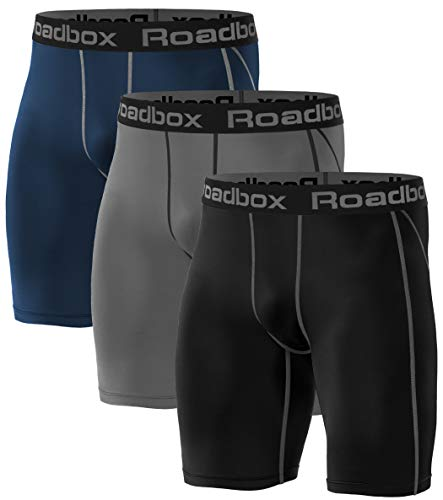 Roadbox 3er Pack Herren Kompressionsshorts, Schnelltrocknendes Baselayer Short Tights Kurz Hose Laufunterwäsche - Tights Base Layer Shorts
