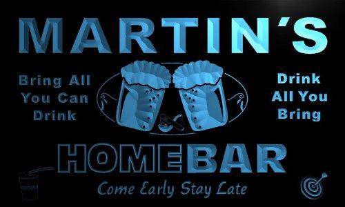 p085-b Martin's Home Bar Beer Family Last Name Neon Light Sign Barlicht Neonlicht Lichtwerbung