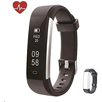 Huyeta Pulsera Actividad Fitness Tracker HR Pulsera Inteligentecon Pulsómetro Pulsera Deportiva y Monitor de Ritmo Cardíaco Monitor de Actividad ...